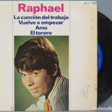 Discos de vinilo: EP. RAPHAEL. LA CANCION DEL TRABAJO. Lote 194731260