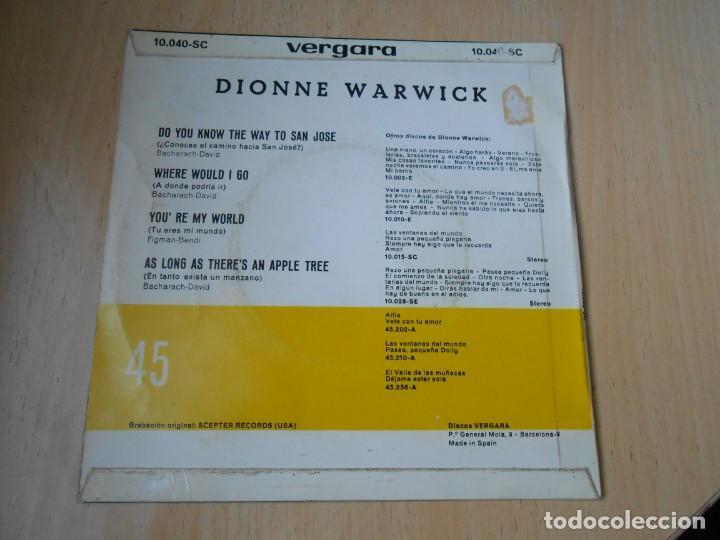 Discos de vinilo: DIONNE WARWICK, EP, DO YOU KNOW THE WAY TO SAN JOSÉ (¿CONOCES EL CAMINO HACIA SAN JOSÉ + 3, AÑO 1968 - Foto 2 - 194732628