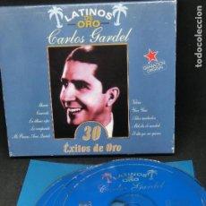 Discos de vinilo: CD DOBLE LATINOS DE ORO - CARLOS GARDEL - 30 ÉXITOS DE ORO - NO INCLUYE CAJA. Lote 194743213