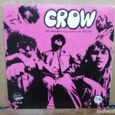Discos de vinilo: CROW - EVIL WOMAN / ROLLIN - SINGLE DEL SELLO EXIT RECORDS 1970. Lote 194758362