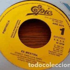 Discos de vinilo: PIMPINELA - ES MENTIRA - SINGLE PROMO 1990. Lote 194764167