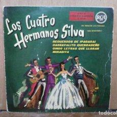 Discos de vinilo: LOS CUATRO HERMANOS SILVA - CINCO LETRAS QUE LLORAN, MIRADITA, RECUERDOS DE IPACARAI... - EP. RCA 60. Lote 194764257