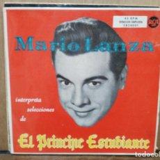 Discos de vinilo: MARIO LANZA - INTERPRETA SELECCIONES DE EL PRÍNCIPE ESTUDIANTE - DOBLE EP. DEL SELLO RCA . Lote 194765200