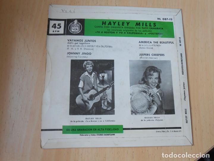 Discos de vinilo: HAYLEY MILLS, EP, VAYAMOS JUNTOS (LET´S GET TOGETHER) + 3, AÑO 1962 - Foto 2 - 194769045