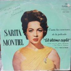Discos de vinilo: FIRMA AUTOGRAFO SARITA MONTIEL - SARA - CANTA LAS CANCIONES DE LA PELÍCULA EL ÚLTIMO CUPLÉ - ESPAÑA. Lote 194771017