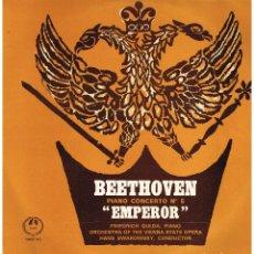 Discos de vinilo: BEETHOVEN - PIANO CONCERTO 5 EMPEROR - FRIEDRICH GULDA - DIR. HANS SWAROWSKY - LP - MADE IN ENGLAND. Lote 194779278