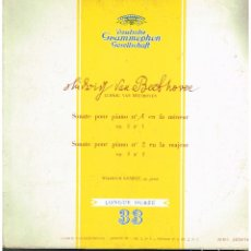 Discos de vinilo: BEETHOVEN - SONATA POUR PIANO 1 Y 2 - WILHELM KEMPFF AL PIANO - LP ED. FRANCIA. Lote 194780181