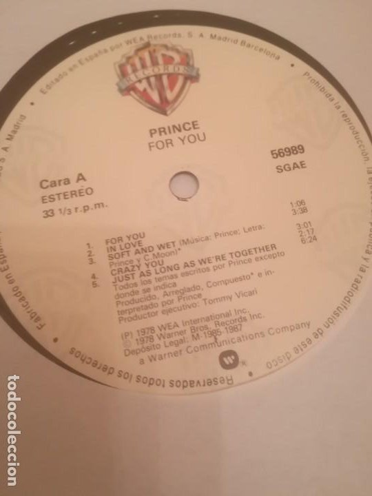 Discos de vinilo: Prince.For You.Warner Records 56989.Reedición Española 1985. - Foto 4 - 194859121