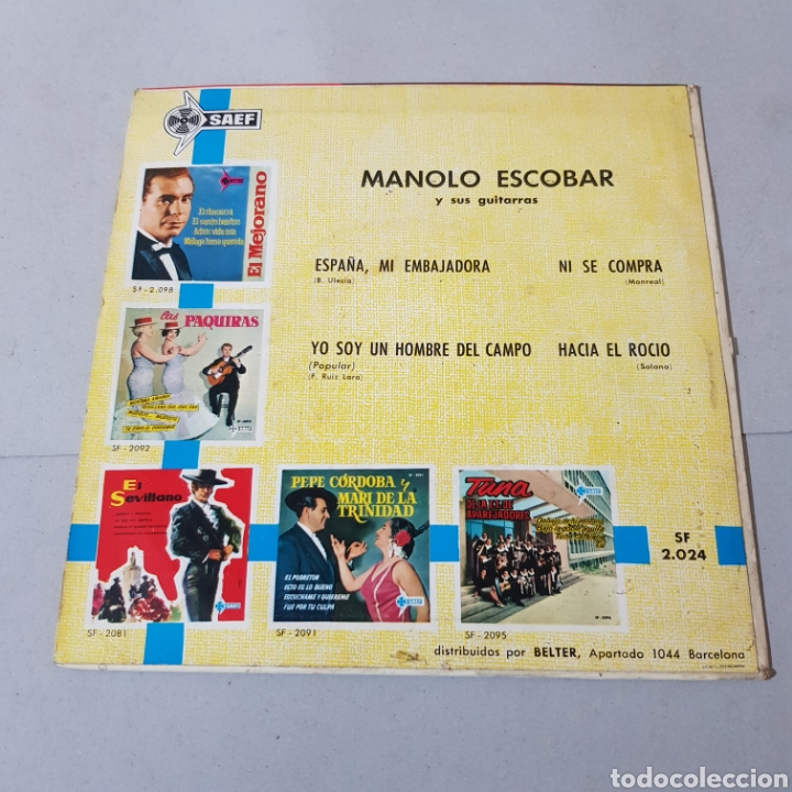 Discos de vinilo: MANOLO ESCOBAR Y SUS GUITARRAS - ESPAÑA MI EMBAJADORA - YO SOY UN HOMBRE DEL CAMPO - NI SE COMPRA .. - Foto 2 - 194872735