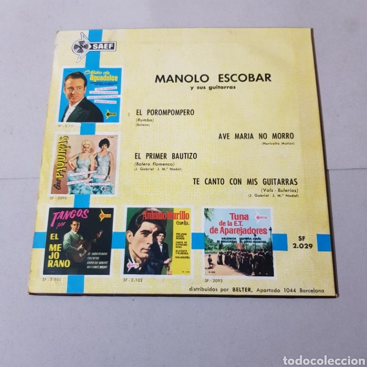 Discos de vinilo: MANOLO ESCOBAR Y SUS GUITARRAS - EL PRIMER BAUTIZO - TE CANTO CON MIS GUITARRAS - EL POROMPOMPERO .. - Foto 2 - 194874016