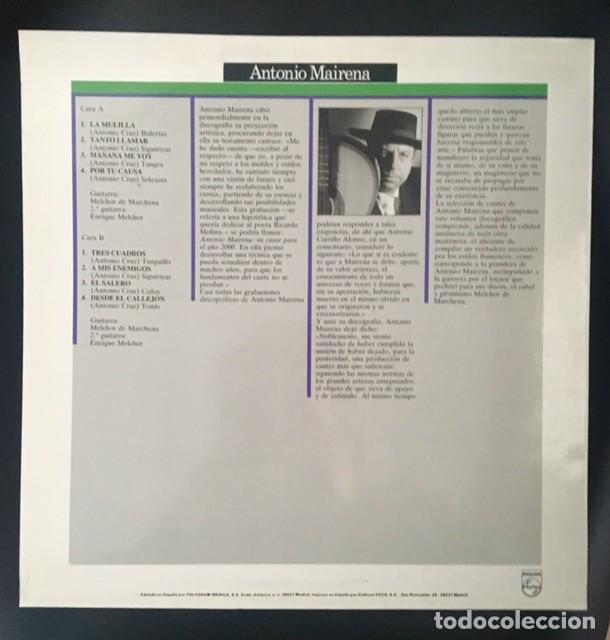 Discos de vinilo: ANTONIO MAIRENA - LLAVE DE ORO DEL CANTE - Foto 2 - 194875310