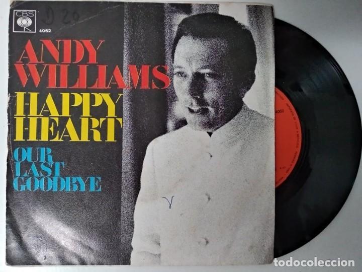 ANDY WILLIAMS - HAPPY HEART / OUR LAST GOODBYE (SINGLE ESPAÑOL, CBS 1969) (Música - Discos - Singles Vinilo - Pop - Rock - Extranjero de los 70)