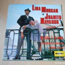 Discos de vinilo: LINA MORGAN Y JUANITO NAVARRO, EP, EL PAPÁ Y LA NIÑA + 2, AÑO 1968. Lote 194885067