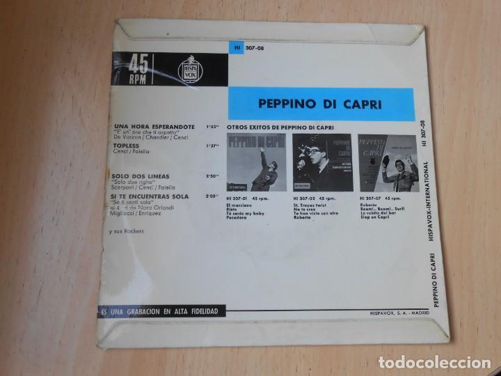 Discos de vinilo: PEPPINO DI CAPRI, EP, UNA HORA ESPERÁNDOTE + 3, AÑO 1964 - Foto 2 - 194887633