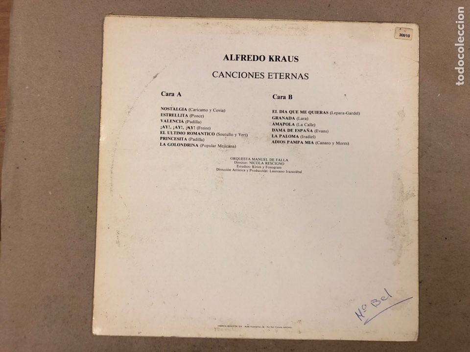 """Discos de vinilo: - L.P. VINILO - ALFREDO KRAUS """"CANCIONES ETERNAS"""". - Foto 3 - 194890203"""