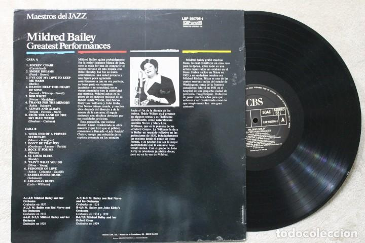 Discos de vinilo: MILDRED BAILEY GREATEST PERFORMANCES LP VINYL MADE IN SPAIN 1989 - Foto 2 - 194899166