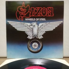Discos de vinilo: SAXON - WHEELS OF STEEL 1980 1ER ED FRANCESA. Lote 194914640