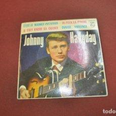 Discos de vinilo: JOHNNY HALLYDAY - C'EST LE MASHED POTATOES , TU PEUX LA PENDRE , DOUCE VIOLENCE - VIB. Lote 194921928