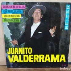 Discos de vinilo: JUANITO VALDERRAMA - CORAZÓN DE SEVILLA, OYE MI PLEGARIA, MALA SUERTE...- EP. DEL SELLO BELTER 1965. Lote 194931751