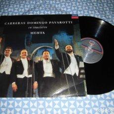 Discos de vinilo: LP CARRERAS DOMINGO PAVAROTTI - EN CONCIERTO (MEHTA) (DECCA, 1990) CLÁSICA, ARIAS, ROMANZAS. Lote 194940553