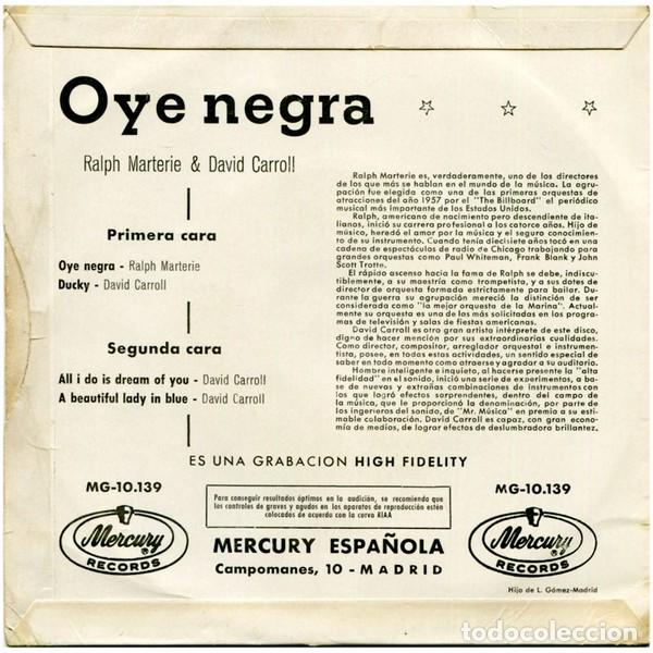 Discos de vinilo: Ralph Marterie - Oye Negra / David Carroll - Ducky / All I Do Is Dream Of You + 1 - 1959 - Foto 2 - 194941911