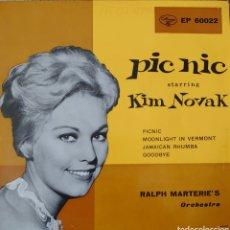 Discos de vinilo: KIM NOVAK EP DE LA BANDA SONORA DE LA PELÍCULA PIC-NIC SELLO MERCURY EDITADO EN ITALIA. Lote 194942237