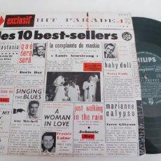 Discos de vinilo: HIT PARADE-LP DE 25 CTMS-LES 10 BEST-SELLERS USA-VARIOS. Lote 194951637