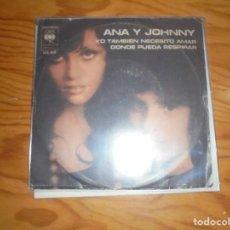 Discos de vinilo: ANA Y JOHNNY. YO TAMBIEN NECESITO AMAR / DONDE PUEDA RESPIRAR. CBS, 1976. ARGENTINA. IMPECABLE. (#). Lote 194962353