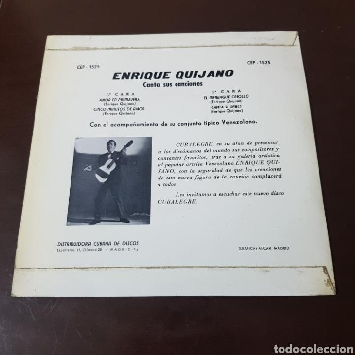 Discos de vinilo: ENRIQUE QUIJANO CANTA SUS CANCIONES - AMOR EN PRIMAVERA - CINCO MINUTOS DE AMOR - CUBALEGRE - Foto 2 - 194977206