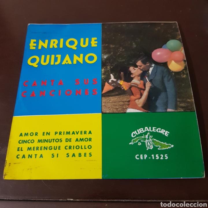 Discos de vinilo: ENRIQUE QUIJANO CANTA SUS CANCIONES - AMOR EN PRIMAVERA - CINCO MINUTOS DE AMOR - CUBALEGRE - Foto 5 - 194977206