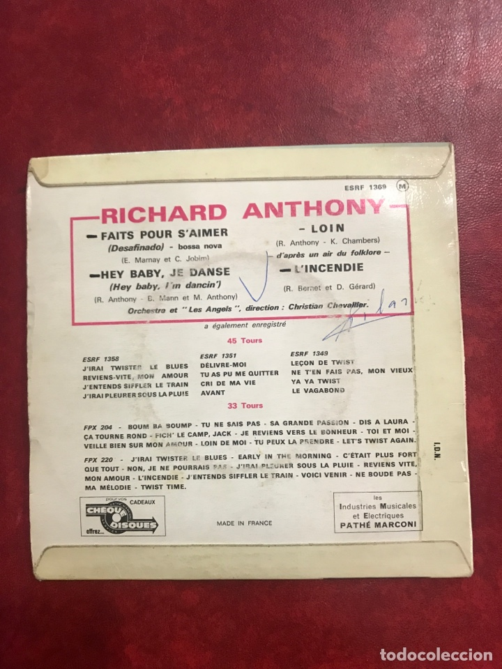 Discos de vinilo: RICHARD ANTHONY SINGLE EP - Foto 2 - 194993237