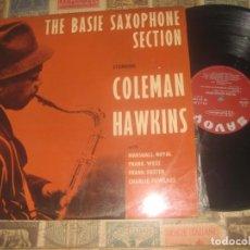 Discos de vinilo: COLEMAN HAWKINS THE BASIE SAXOPHONE(1958?-SAVOY) OG FRANCIA LEA DESCRIPCION. Lote 195012876