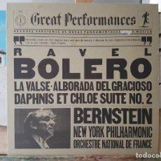 Discos de vinilo: ** BOLERO DE RAVEL / LA VALSE / ALBORADA DEL GRACIOSO - BERNSTEIN - LP 1981 - LEER DESCRIPCIÓN. Lote 195027041