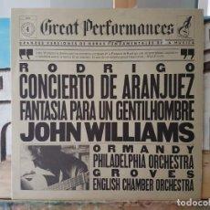 Discos de vinilo: ** CONCIERTO DE ARANJUEZ / FANTASÍA PARA GENTILHOMBRE - JOHN WILLIAMS - LP 1983 - LEER DESCRIPCIÓN. Lote 195028320
