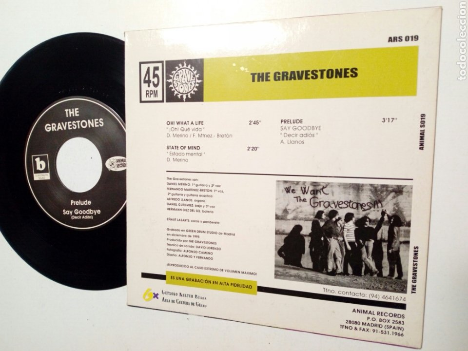 Discos de vinilo: EP: THE GRAVESTONES - OH! WHAT A LIFE (Animal Records, 1990) - Garage Mod Rock Beat Pop Fuzz - - Foto 2 - 195035317