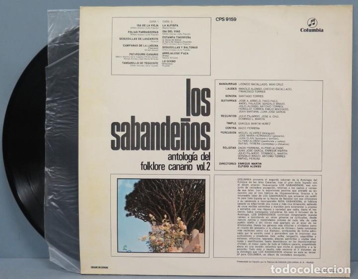 Discos de vinilo: LP. LOS SABANDEÑOS. ANTOLOGIA DEL FOLKLORE CANARIO VOL. 2 - Foto 2 - 195045620