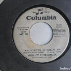 Discos de vinilo: NIÑA DE ANTEQUERA SG COLUMBIA SINFONOLA 1967 MS 88 SE ASOMA MIRANDO AL MAR/ DE LUTO ESTAN - FLAMENCO. Lote 195048846
