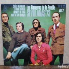 Discos de vinilo: LOS ROMEROS DE LA PUEBLA - COSAS DEL PUEBLO, LETANÍA ROCIERA, APUNTES DE FERIA.. - EP. HISPAVOX 1973. Lote 195067993