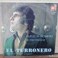 Discos de vinilo: EL TURRONERO - HUELE A ROMERO / LA MARIMORENA - SINGLE DEL SELLO BASF 1976. Lote 195068081