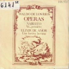 Discos de vinilo: WALDO DE LOS RIOS (OPERAS) - NABUCCO / ELIXIR DE AMOR (SINGLE ESPAÑOL, HISPAVOX 1973). Lote 195069305
