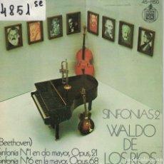 Discos de vinilo: WALDO DE LOS RIOS - SINFONIAS 2 (BEETHOVEN) (SINGLE ESPAÑOL, HISPAVOX 1974). Lote 195069456