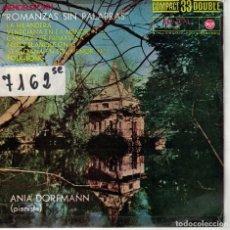 Discos de vinilo: ANIA DORFMANN (PIANO) - ROMANZAS SIN PALABRAS (MENDELSSOHN) (EP ESPAÑOL, RCA 1961). Lote 195072388