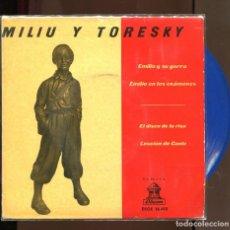 Discos de vinilo: MILIU Y TORESKY. EMILIO EN LOS EXÁMENES, ETC.. EMI ODEON 1961. EP VINILO AZUL. Lote 195073117