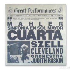 Discos de vinilo: GREAT PERFORMANCES – MAHLER – SINFONIA EN SOL MAYOR CUARTA – DISCOS CBS. Lote 195074427