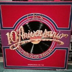 Discos de vinilo: VARIOUS - CBS 10º ANIVERSARIO 10 AÑOS DE EXITOS 3LP, COMPILATION 1979 FOLK, WORLD, & COU. Lote 195081143