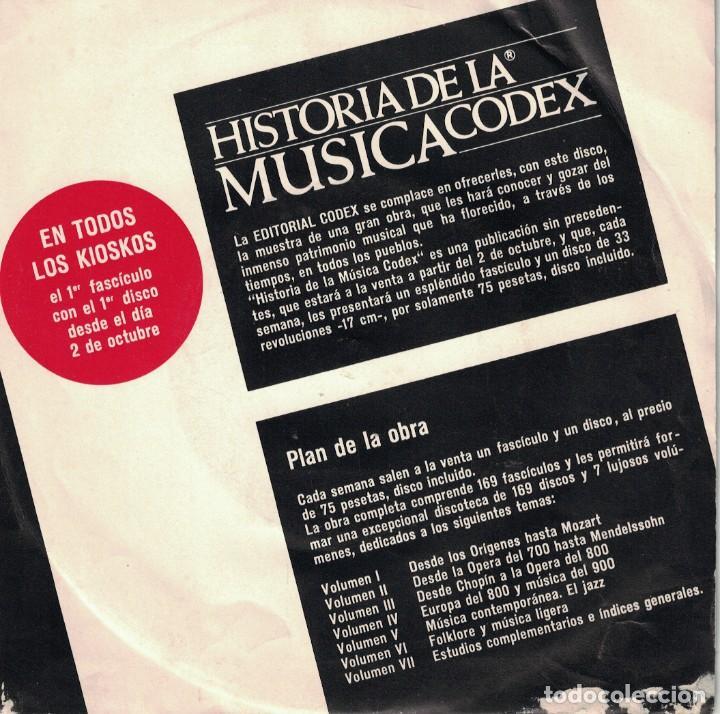 HISTORIA DE LA MUSICA CODEX - PRESENTACION (EP ESPAÑOL, EDITORIAL CODEX SIN FECHA) (Música - Discos de Vinilo - EPs - Clásica, Ópera, Zarzuela y Marchas)
