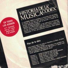 Discos de vinilo: HISTORIA DE LA MUSICA CODEX - PRESENTACION (EP ESPAÑOL, EDITORIAL CODEX SIN FECHA). Lote 195088956