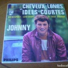 Discos de vinilo: EP : JOHNNY HALLYDAY / CABELLOS LARGOS E IDEAS CORTAS / ED SPAIN 1966 VG +. Lote 195099151