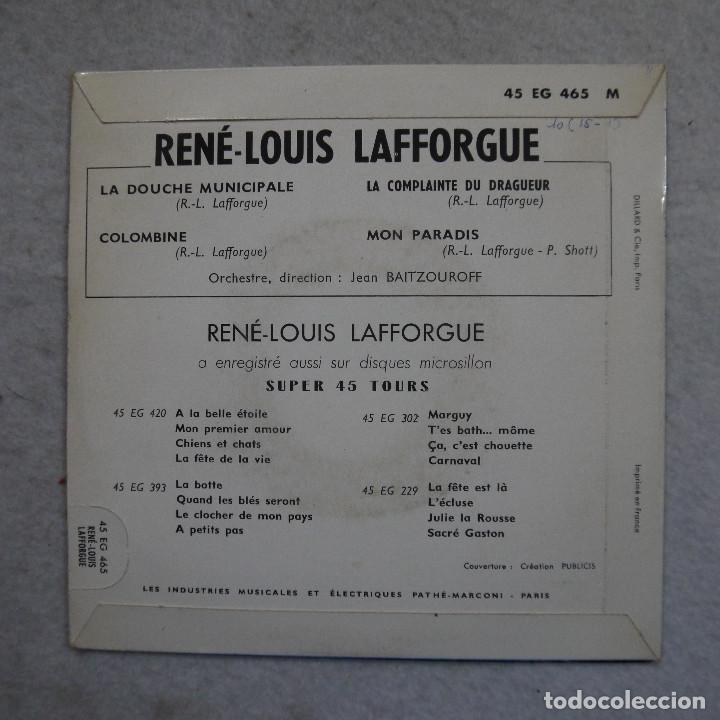 Discos de vinilo: RENÉ-LOUIS LAFFORGUE - LA DOUCHE MUNICIPALE - COLOMBINA Y DOS CANCIONES MAS - EP 1959 - Foto 2 - 195111402