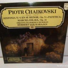Discos de vinilo: LP PIOTR CHAIKOVSKI -HERBERT VON KARAJAN, ORQUESTRA FILARMONICA DE BERLIM -SINFONÍA N.6 EM SI MENOR. Lote 195111751
